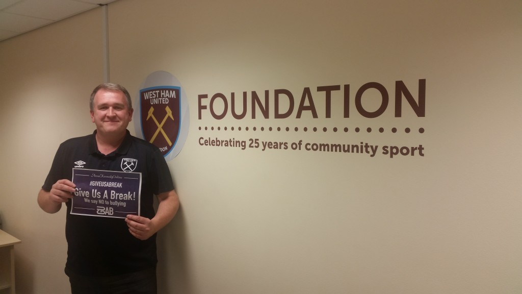Austin Hughes showing the support from the West Ham United Foundation