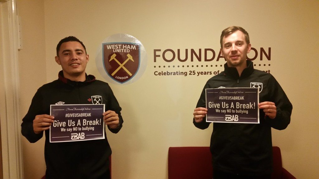 West Ham United Foundation supporting our 'Give us a Break' Project